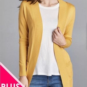Sweaters - Long Sleeve Open Cardigan with Pockets